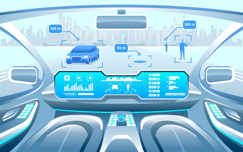 Autonomous Smart car interior. car self driving in the city on the highway. Display shows information about the vehicle royalty free illustration