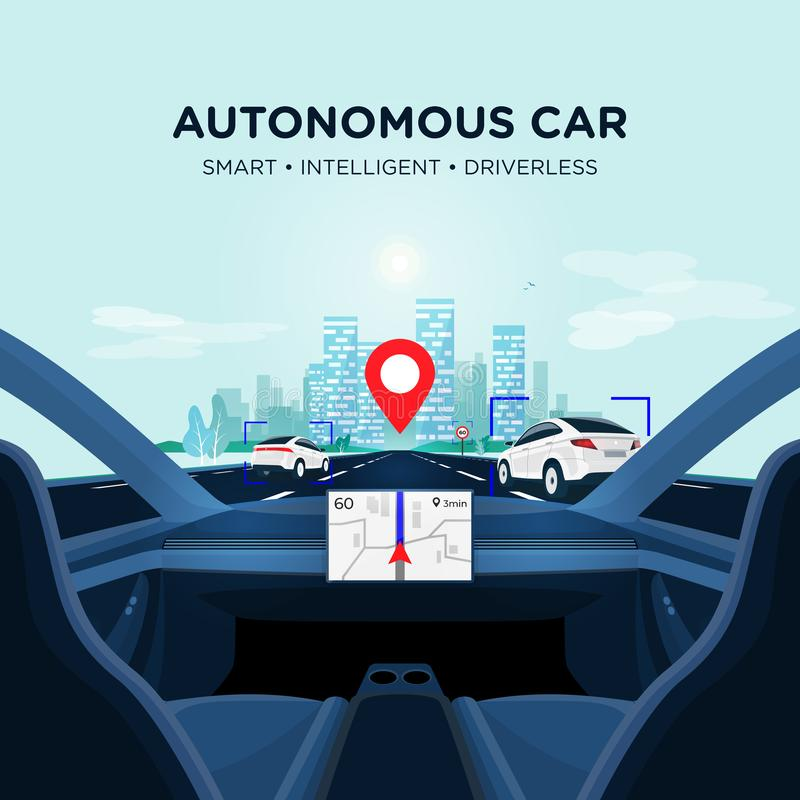 Autonomous Smart Driverless Car Self Driving. Car Interior view on Road with Traffic royalty free illustration