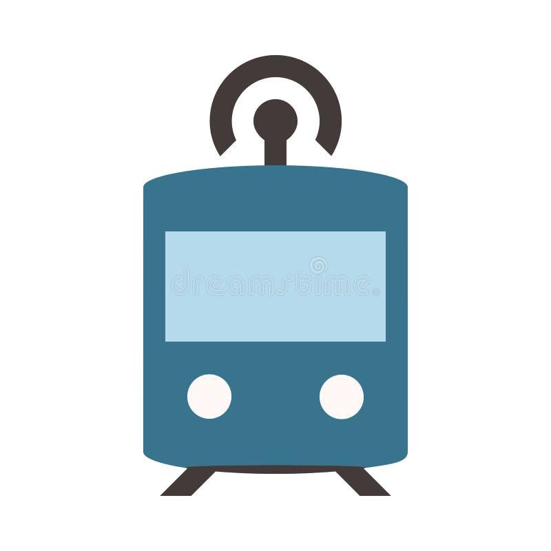 Autonomous Subway - Metro - Flat colored icon - Blue. Autonomous Subway - Metro - Flat colored pixel perfect icon - Blue vector illustration