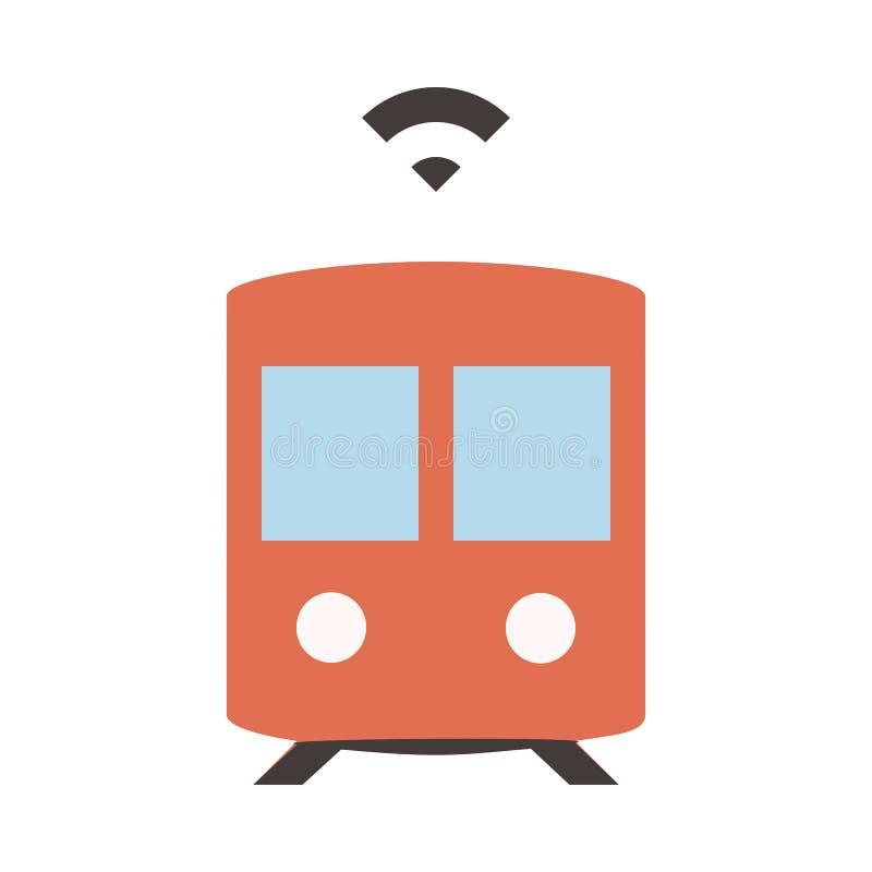 Autonomous Subway - Metro - Flat colored icon - Red. Autonomous Subway - Metro - Flat pixel perfect colored icon - Red stock illustration