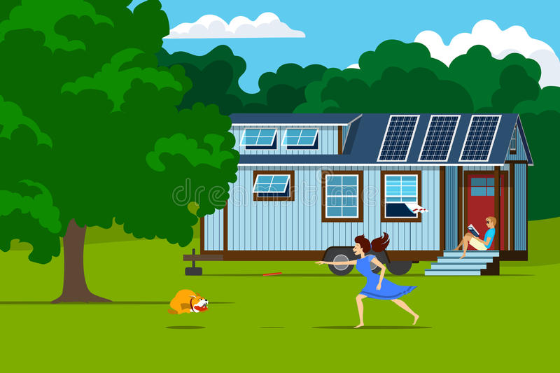 Autonomous tiny house with solar panels on nature. royalty free illustration