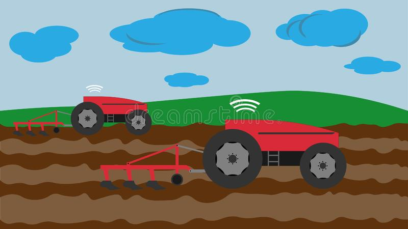 Autonomous tractor plowed field without control of a person stock illustration