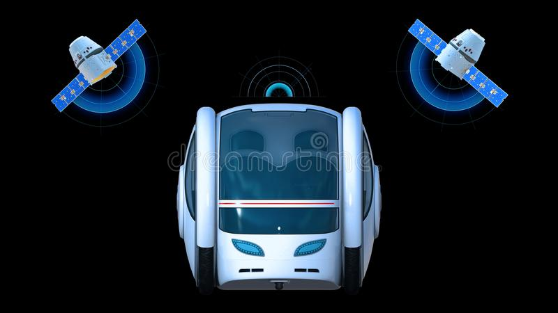 Autonomous transportation pod, electric self-driving vehicle with two satellites on black background, futuristic car, front view vector illustration