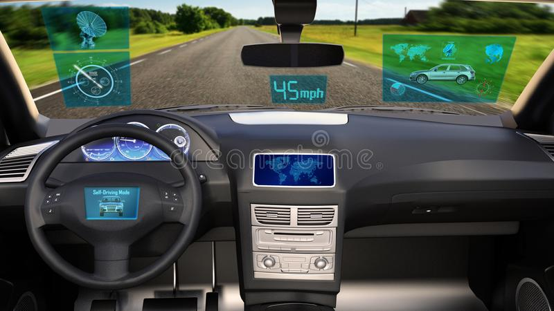 Autonomous vehicle, driverless SUV car with infographic data driving on the road, inside view, 3D render royalty free stock images