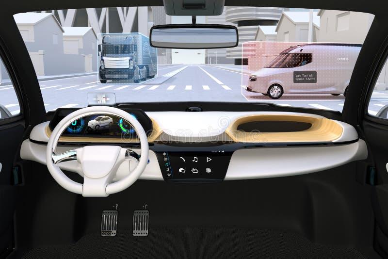 Autonomous vehicle interior. Head up display shows traffic information vector illustration