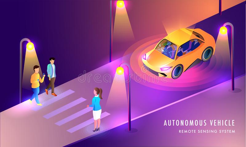 Autonomous Vehicle, Remote Sensing System based web template design with illustration of Smart Car on urban landscape background. royalty free illustration