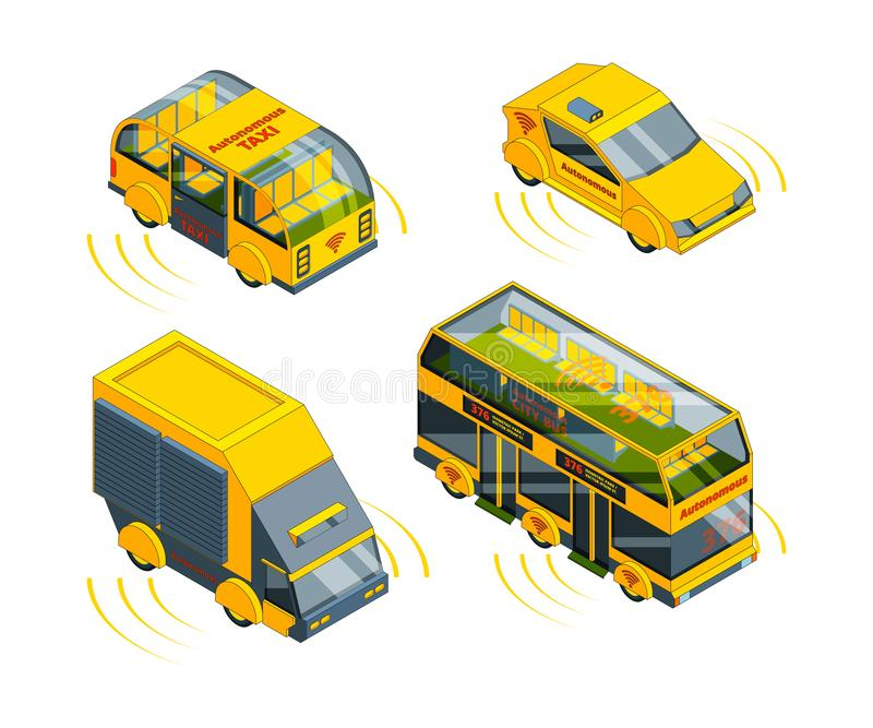 Autonomous vehicle. Unmanned transport at road emergency cars train taxi and buses isometric vector pictures vector illustration