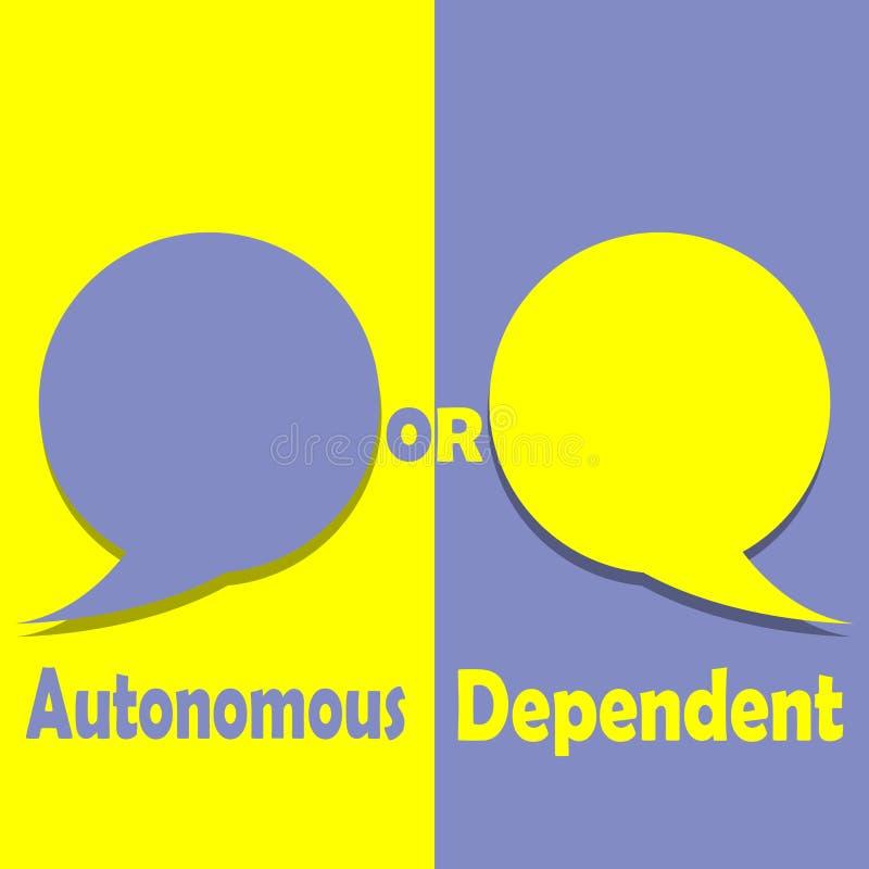 Autonomt eller beroende på ord på utbildning vektor illustrationer