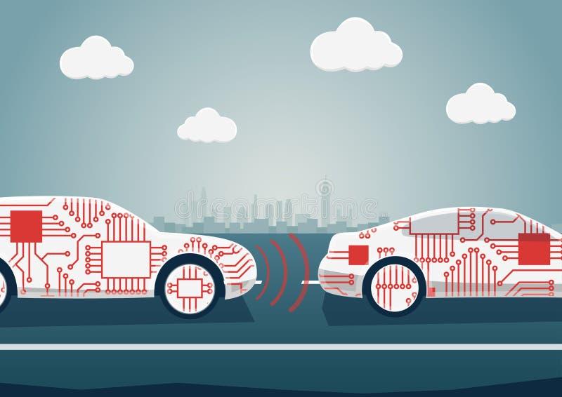 Autonomt körande begrepp som exemplet för digitalisation av bilindustri Vektorillustration av förbindelsebilcommunicatien royaltyfri illustrationer