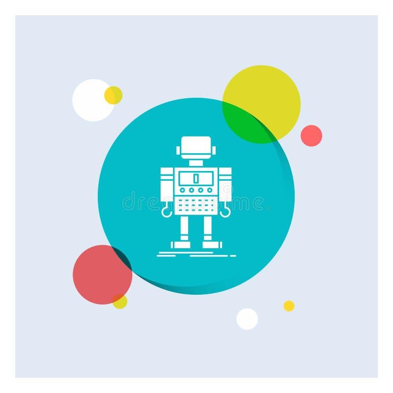 autonomt maskin, robot som är robotic, för vit bakgrund för cirkel skårasymbol för teknologi färgrik stock illustrationer