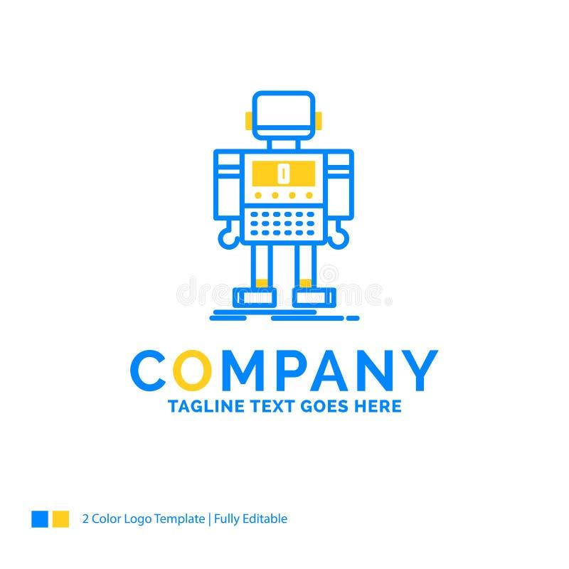 autonomt maskin, robot som är robotic, teknologi blåa gula Busi vektor illustrationer