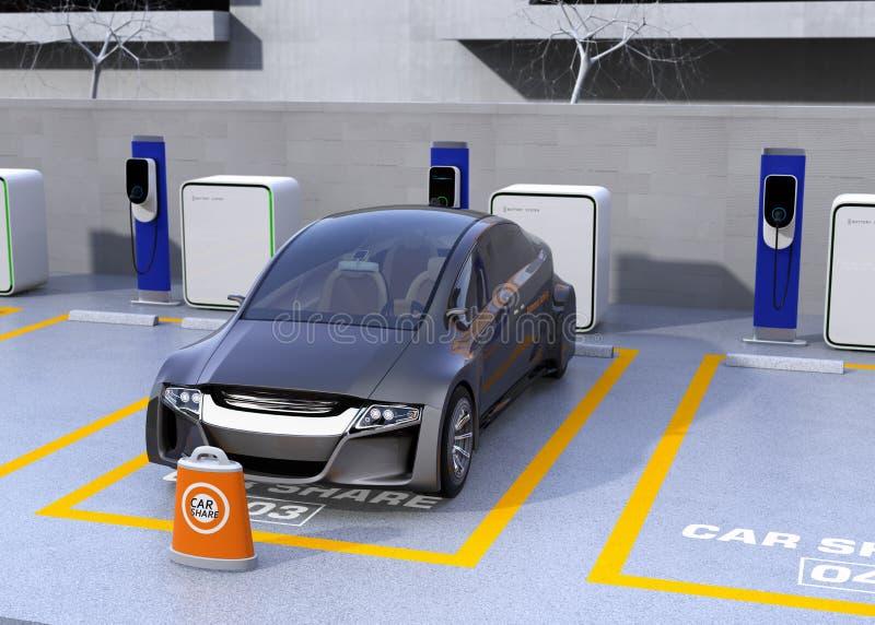 Autonomt medel i parkeringsplatsen för att dela stock illustrationer