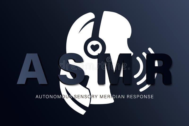 Autonomt sensoriskt meridiansvar, ASMR-logo eller symbol Den kvinnliga huvudprofilen med hjärta formade hörlurar som tycker om royaltyfri illustrationer