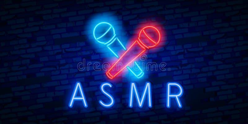 Autonomt sensoriskt meridiansvar för neon, realistiskt neontecken för vektor av ASMR-ramlogoen för mall royaltyfri illustrationer