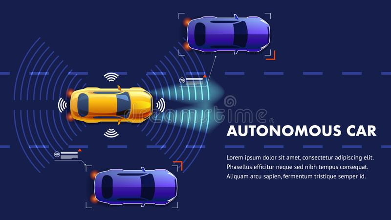 Autonomus汽车例证 传染媒介着陆页 向量例证