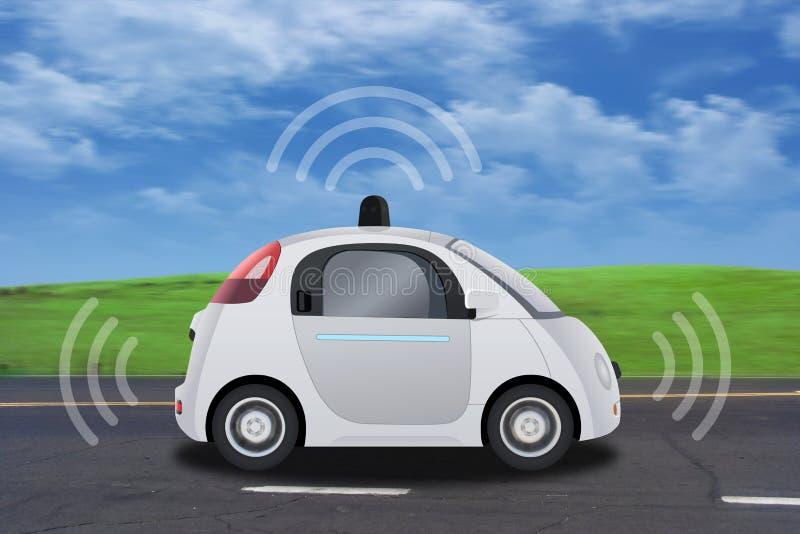 Autonoom zelf-drijft driverless voertuig met radar het drijven op de weg vector illustratie