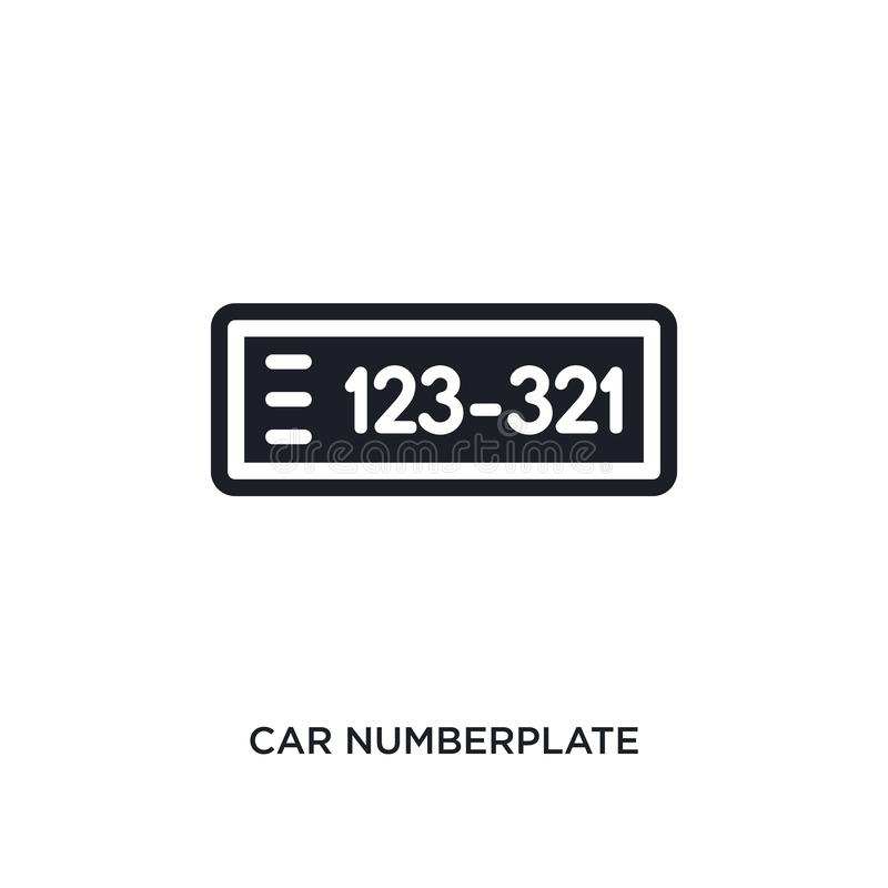 autonummerplaat geïsoleerd pictogram eenvoudige elementenillustratie van het conceptenpictogrammen van autodelen symbool van het  vector illustratie