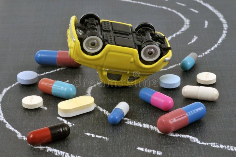 Autoongeval toe te schrijven aan drugs royalty-vrije stock foto