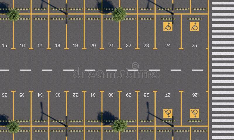 AutoParkplatz mit Fahrbahnmarkierungen und der Nummerierung von Parkplätzen Leeres Parken mit einem Fußgängerübergang Beschneidun lizenzfreie abbildung