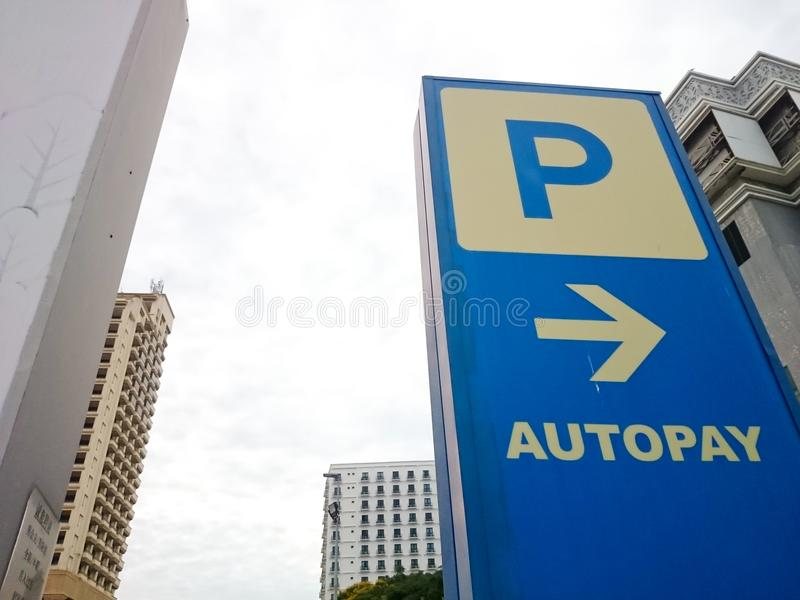 Autopay signboard at mall royalty free stock photo