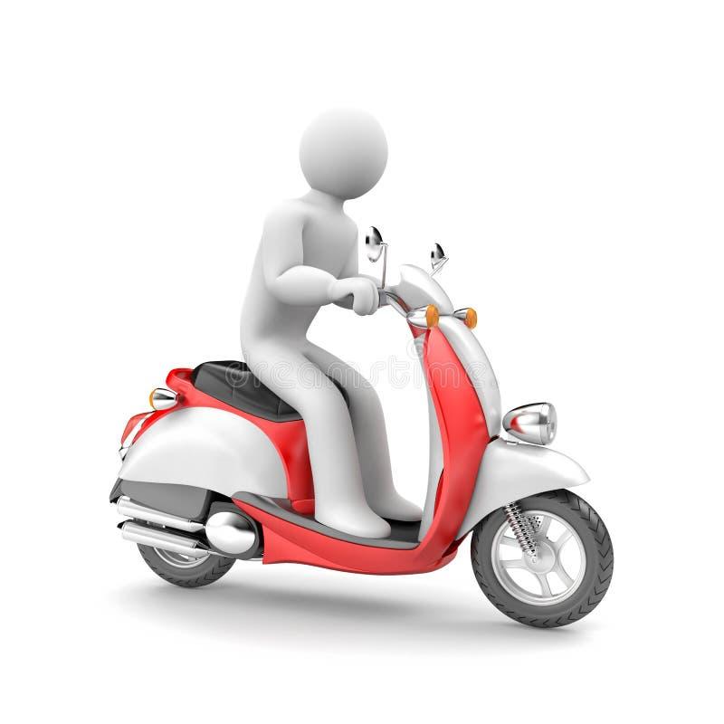 Autoped en autopedbestuurder Unisex-karakter vector illustratie