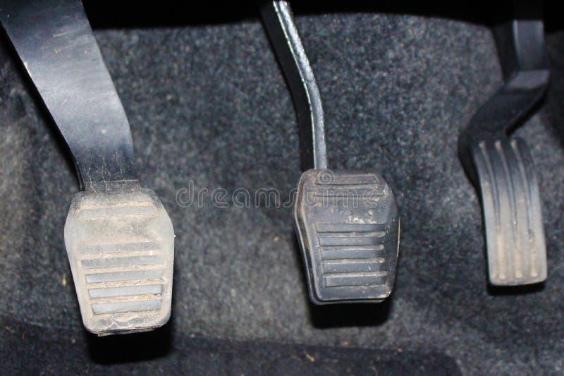Autopedalkupplung und -gaspedal Kupplung, Bremse, Gaspedal des Autos lizenzfreie stockfotografie