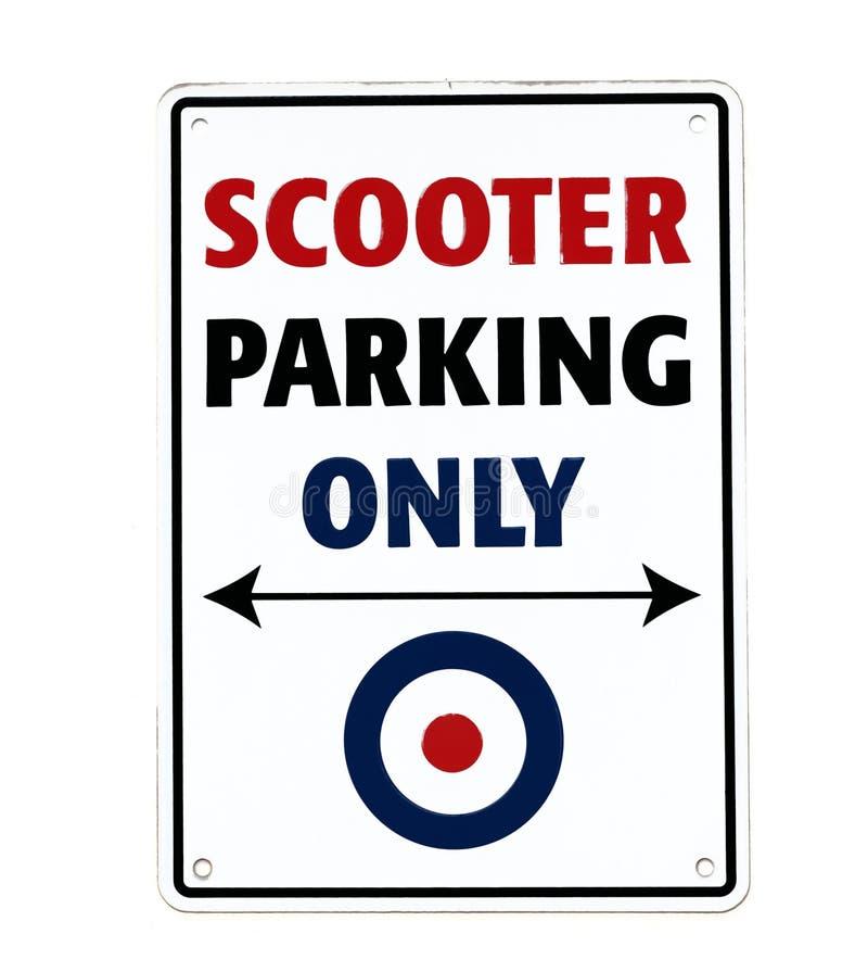 Autopedparkeren slechts, met mod.-doelsymbool Uitstekend teken op witte muur vector illustratie