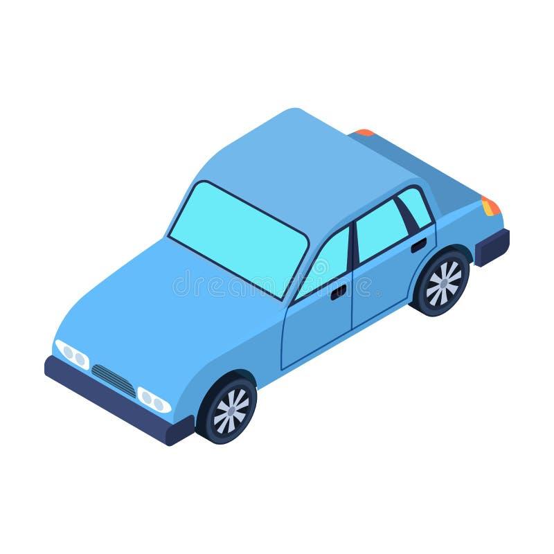 Autopictogram in beeldverhaalstijl op witte achtergrond wordt geïsoleerd die De voorraad vectorillustratie van het vervoerssymboo stock illustratie