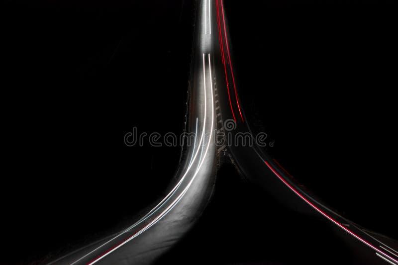 Autopista de la noche D0 en Praga imagen de archivo libre de regalías