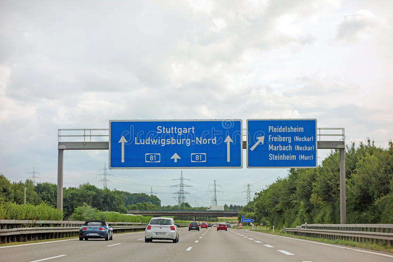 Autopista A81 - Stuttgart/Ludwigsburg/Pleidelsheim imagen de archivo libre de regalías