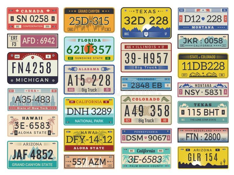 Autoplatten Retrostilvektor-Zeichensammlung der Landstraßenautomobillizenznummern alte lizenzfreie abbildung
