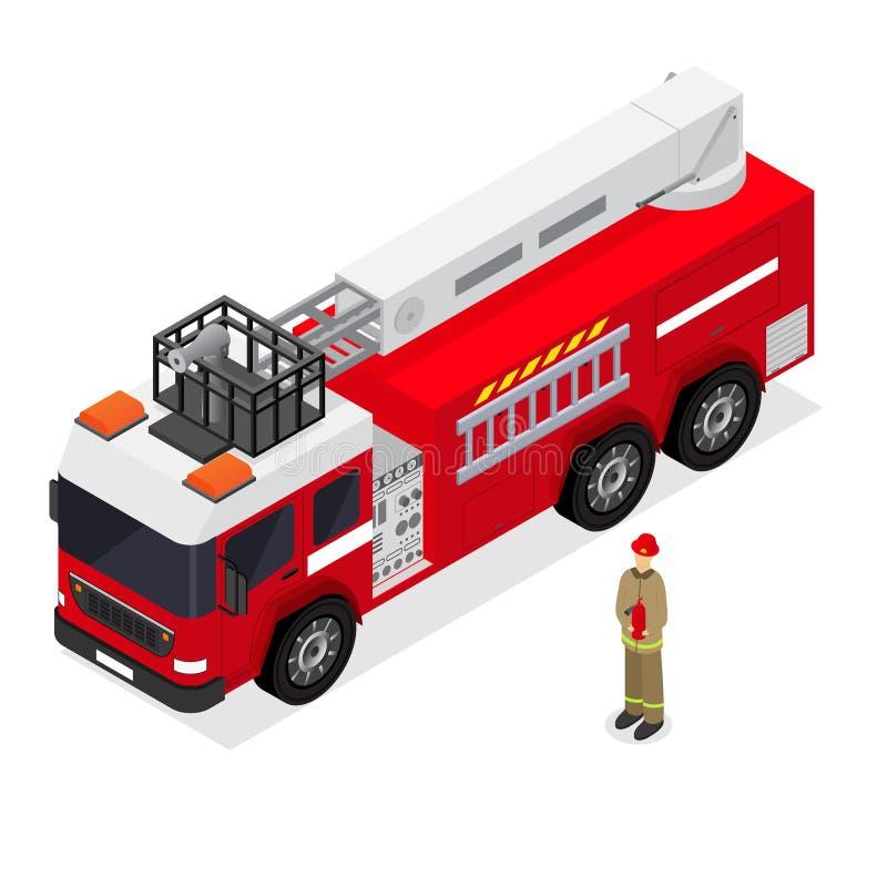 Autopompa antincendio e pompiere Isometric View Vettore royalty illustrazione gratis