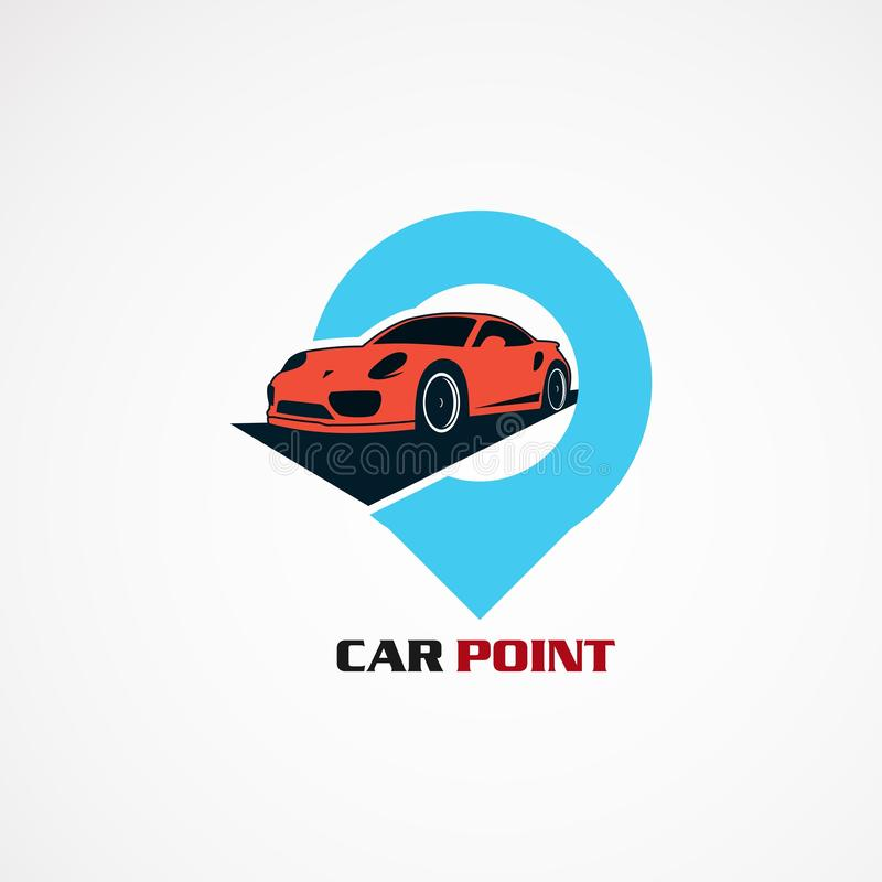 Autopunkt mit modernem Konzeptlogovektor, -ikone, -element und -schablone für Firma lizenzfreie abbildung