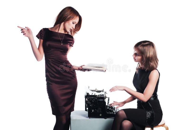 Autor e máquina de escrever foto de stock