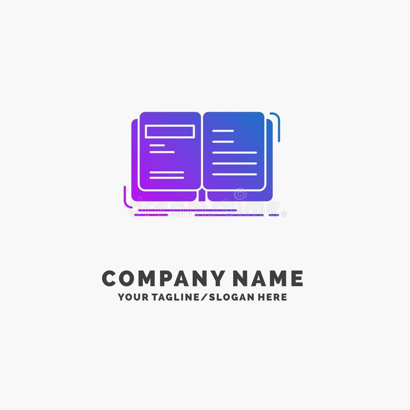 Autor, książka, otwarta, opowieść, relacja logo Purpurowy Biznesowy szablon Miejsce dla Tagline royalty ilustracja