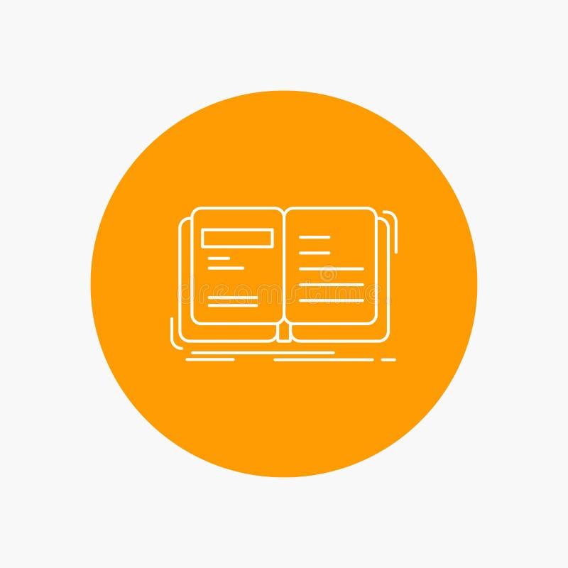 Autor, książka, otwarta, opowieść, relacji Białej linii ikona w okręgu tle Wektorowa ikony ilustracja ilustracji