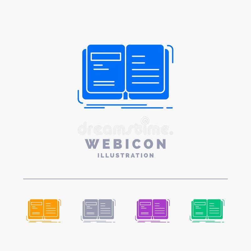 Autor, książka, otwarta, opowieść, relacji 5 koloru glifu sieci ikony szablon odizolowywający na bielu r?wnie? zwr?ci? corel ilus ilustracja wektor