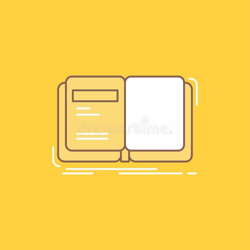 Autor, książka, otwarta, opowieść, relacji mieszkania linia Wypełniał ikonę Pi?kny logo guzik nad ? royalty ilustracja