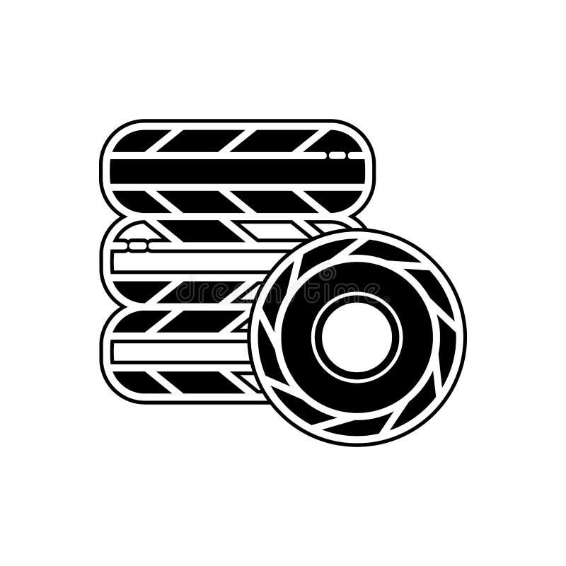 Autoradikone Element von Autos Service und von Reparaturteilen für bewegliches Konzept und Netz Appsikone Glyph, flache Linie Iko stock abbildung