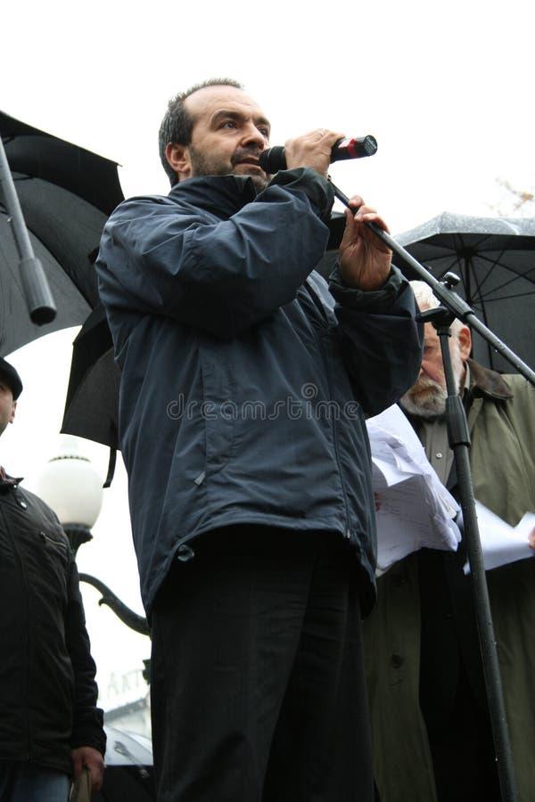 Autore di satire Viktor Shenderovich al raduno dentro fotografia stock libera da diritti