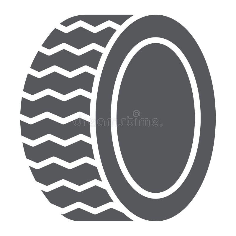Autoreifen Glyphikone, Auto und Teil, Radzeichen, Vektorgrafik, ein festes Muster auf einem weißen Hintergrund lizenzfreie abbildung