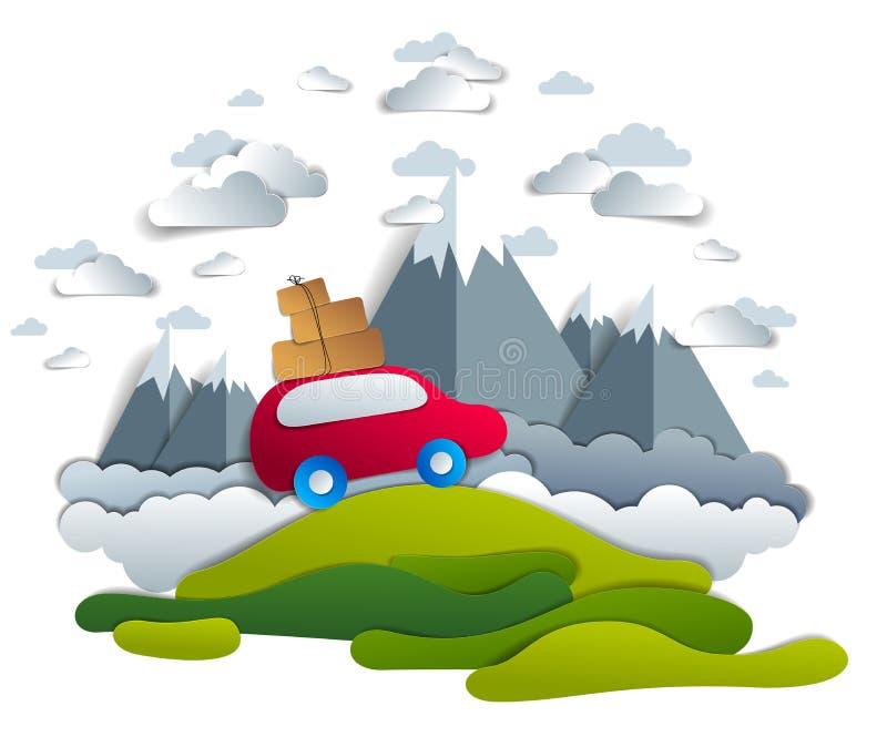 Autoreis en toerisme, rode minivan met bagage het berijden van weg met bergpieken op achtergrond, wolken in de hemel, document be stock illustratie