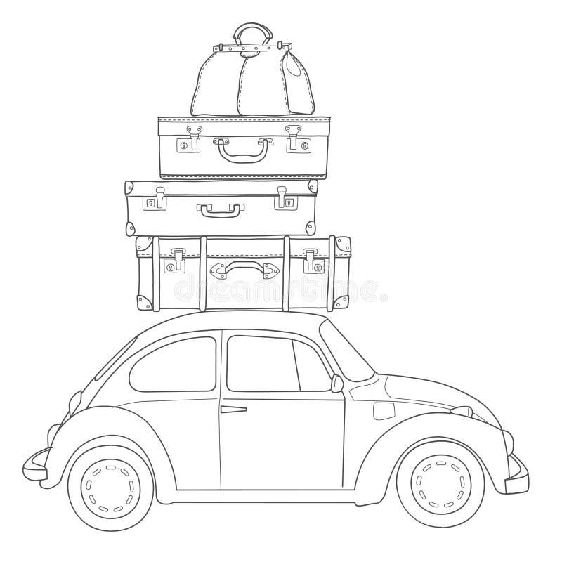 Autoreis retro auto met bagage op het dak royalty-vrije illustratie