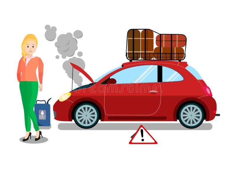 Autoreise-Fahrzeug-Ausfall-flache Vektor-Illustration stock abbildung