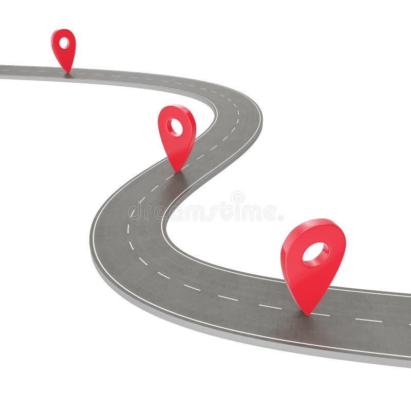 Autoreise- und Reiseweg Kurvenreiche Straße auf einem weißen Hintergrund mit Pin Pointer Infographic Schablone des Fahrwegstandor lizenzfreie abbildung