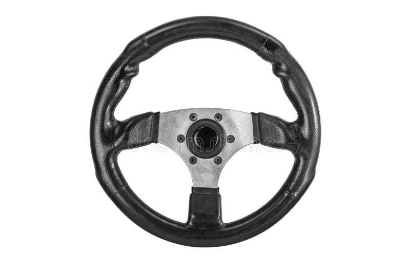 Autorennensport-Lenkrad mit dem weichen schwarzen Sämischlederledernen und ergonomischen Griff lokalisiert auf einem weißen Hinte stockbilder