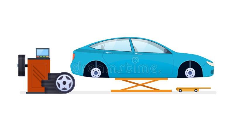 Autoreparatie De dienst van de auto Vervanging van banden, wielen, autodelen royalty-vrije illustratie