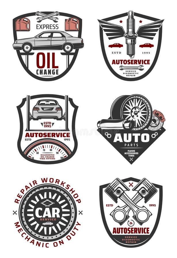 Autoreparatiewerkplaats en auto de dienst uitstekende kentekens vector illustratie