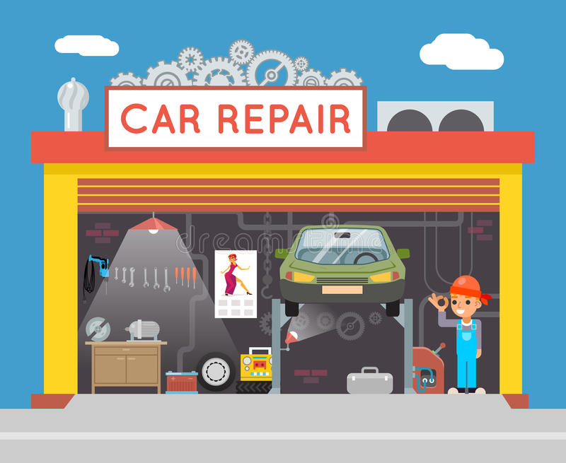 Autoreparatur-Service-Garagen-Shop-Techniker-Vehicle Fix Flat-Design-Werkstatt-Konzept-Schablonen-Vektor-Illustration vektor abbildung