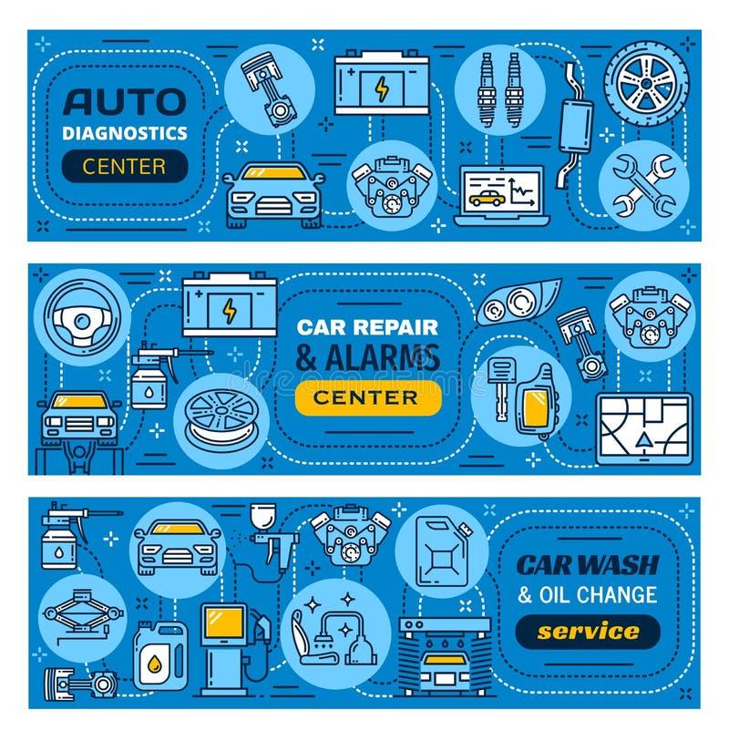 Autoreparatur, Wäsche, Warnungen und Wartungsservice stock abbildung